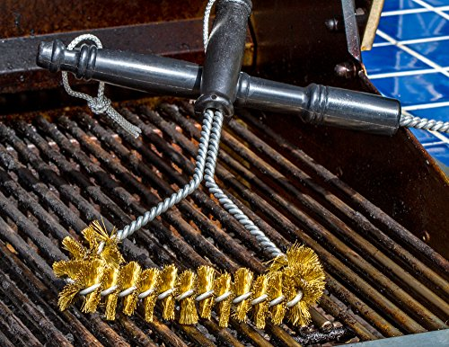 best bbq grill brush 12u2033 u2013 100 made in usa heavy duty bbq tool brass extra wide two levels of bristles are soft safe for all porcelain enamel grates - Grill Brush