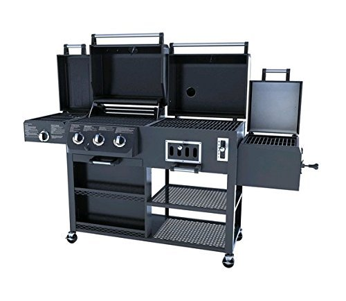 shop smoke hollow ps9900 4 in 1 lp gas charcoal smoker searing bbq grill. Black Bedroom Furniture Sets. Home Design Ideas