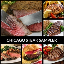 Black Angus Steak Sampler – 8 Cuts / 16 Burger Patties – Filet, Ribeye, Sirloins, Beef, Flat Iron, Marinated Chicken – Chicago Steak Company