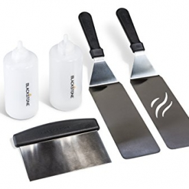 Blackstone 5 Piece Professional Grade Grill Griddle and BBQ Tool Kit with FREE GIFT – 2 Spatulas, 1 Chopper Scrapper, 2 Bottles for Condiments or Water or Oil and A Free Cookbook – Great for Griddle, Grill and Flat Top Cooking in the Backyard, Camping, Tailgating and Everywhere