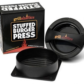 Grillaholics Stuffed Burger Press and Recipe eBook – Hamburger Patty Maker for Grilling – BBQ Grill Accessories