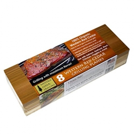 Western Cedar Grilling Planks (8 PACK!!) – Perfect for SALMON, FISH, STEAK, VEGGIES and more. MADE IN USA! Re-use several times. Superior water absorption compared to other planks